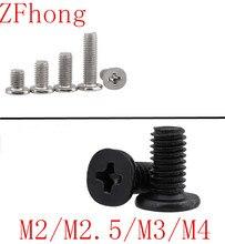 500-1000PCS m2 m2.5 m3 m4 steel with black or nickel CM low thin short head screw Large Flat Head Cross Thin Edge Flat Screw