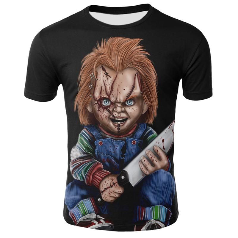 2020 new horror movie Chucky T-shirt 3D printing Cool men and women all-match casual streetwear clown