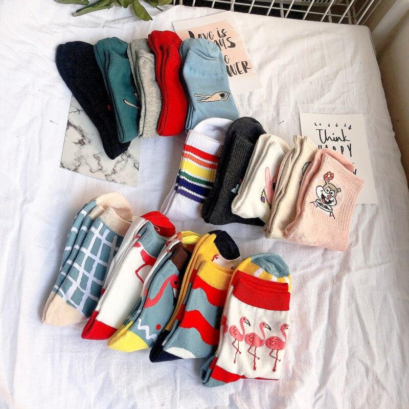 5 Pairs Set Hot Selling Women Cartoon Characters Patterned Cute Socks Cotton Hipster Women Harajuku Funny Flamingo Socks Trendy