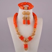 african beads set jewelry natural coral necklace orange coral jewelry set for nigerian wedding