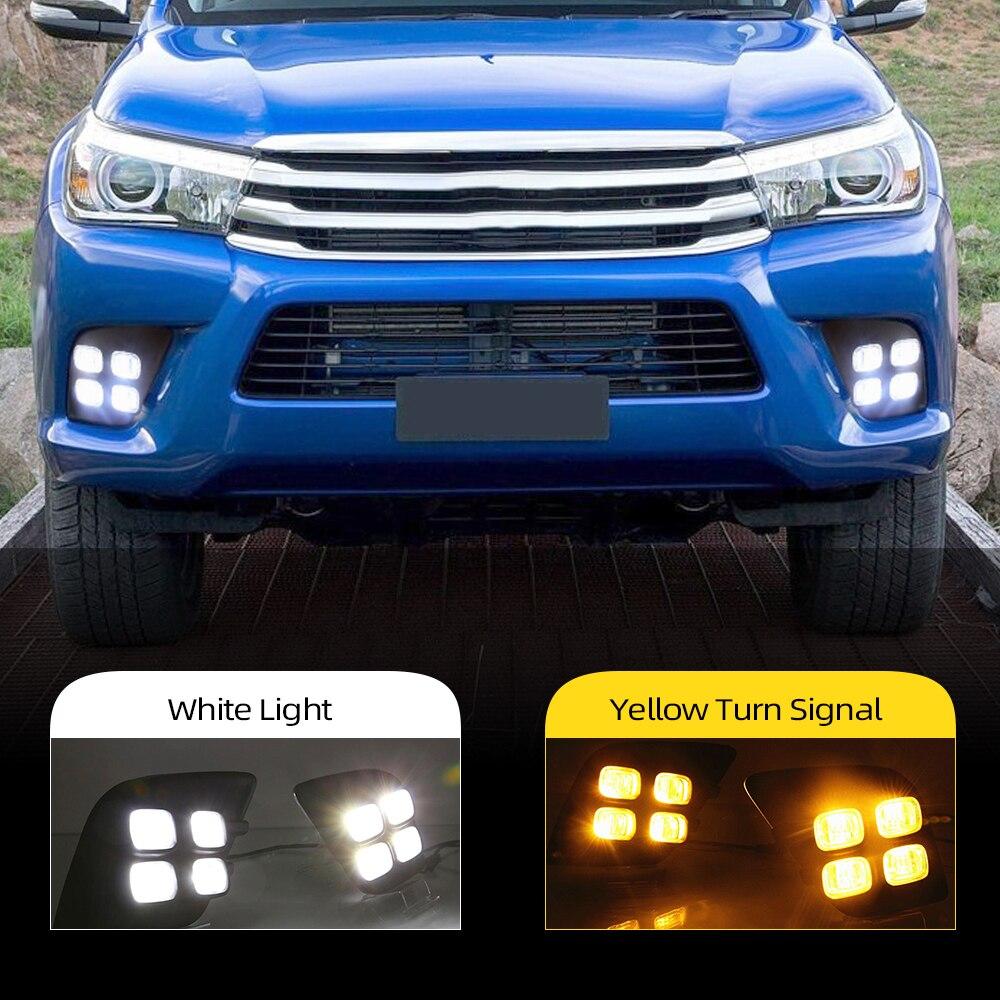 Reflektory samochodowe 2 sztuk dla Toyota Hilux Revo Vigo 2015 2016 2017 LED DRL światła dzienne światło dzienne mgła dekoracja lampy sygnał