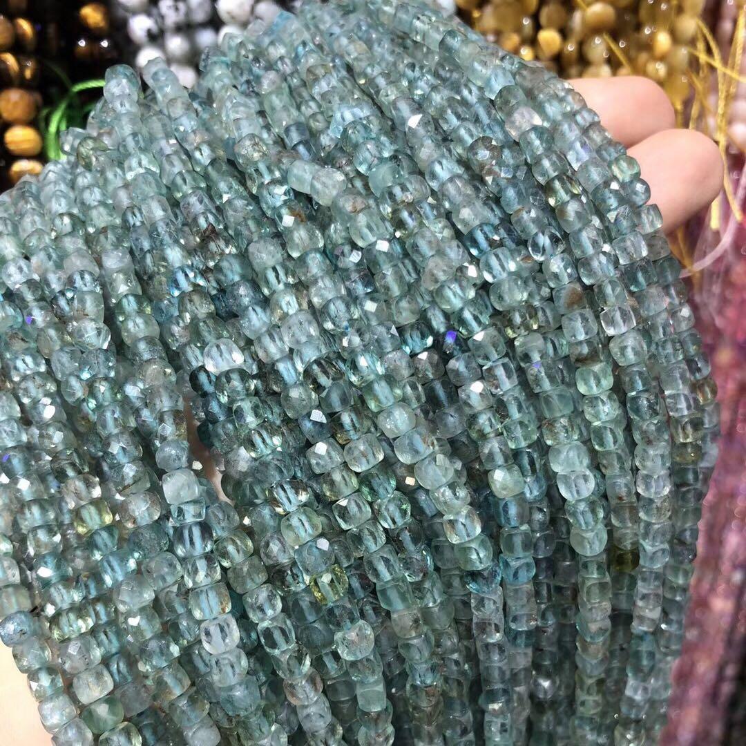 Cuentas faceteadas naturales de piedra apatita, gemas cuadradas, cuentas sueltas para hacer joyería, pulsera DIY, collar, accesorios de 4mm