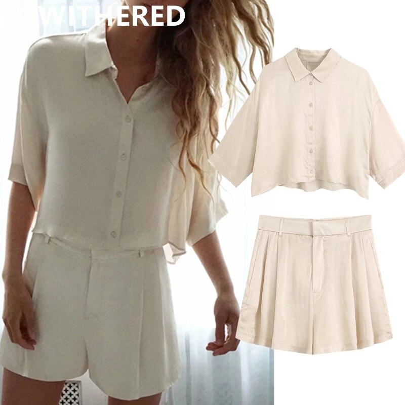 Dave & Di ins angleterre satin blouse femmes blusas taille haute chemise courte harem shorts femmes court feminino bermuda deux pièces ensembles
