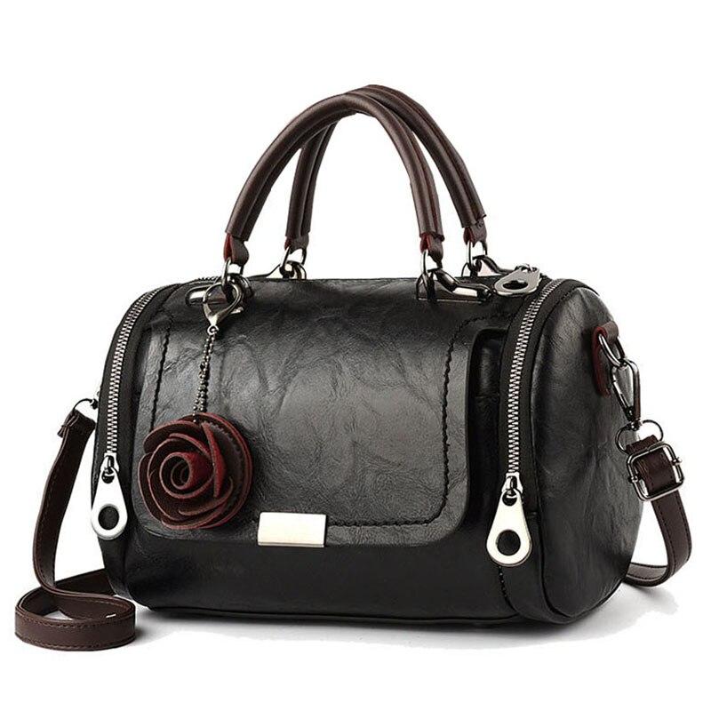 حقائب الموضة النسائية الجديدة سعة كبيرة ارتفع قلادة بولي Leather حقائب كتف جلدية حقيبة ساع عادية للنساء حمل الإناث