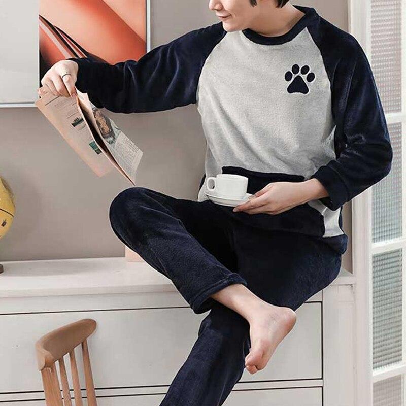 Пижама мужская теплая одежда для сна мужская% 27 фланель зима толстая пижама мужская длинный рукав повседневная мужская% 27 зима пижама флис одежда для сна