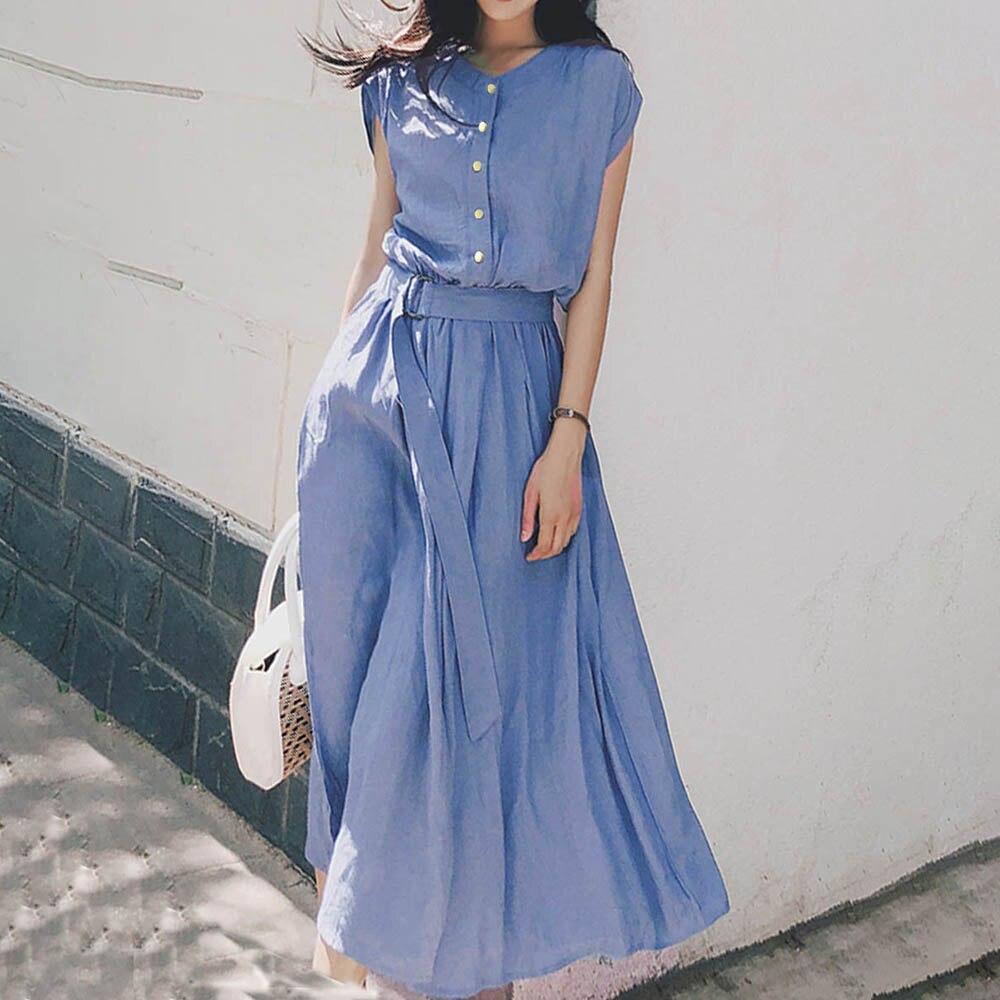 2020 mulheres vestidos de verão coreano moda cintura alta uma linha francês vintage rua casual cinto fino elegante escola midi vestido