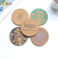 1 pièces de thé Placement personnalisé en bois tranche tasse tapis naturel rond liège caboteur napperon pour la décoration de tasse à café