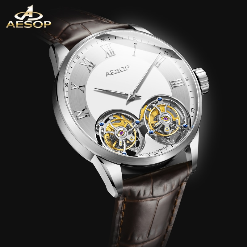 Aesop Limited Edition Double Tourbillon Movement Watch For Men Luxury Brand Mechanical Sapphire Watches Mens montre homme 2021