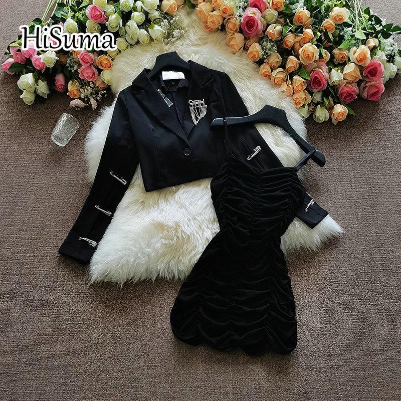 فستان نسائي قطني بطيات ، زي ربيعي ، قصير مرصع بأحجار الراين ، بروش بدلة ، جاكيت نسائي من قطعتين ، 2021