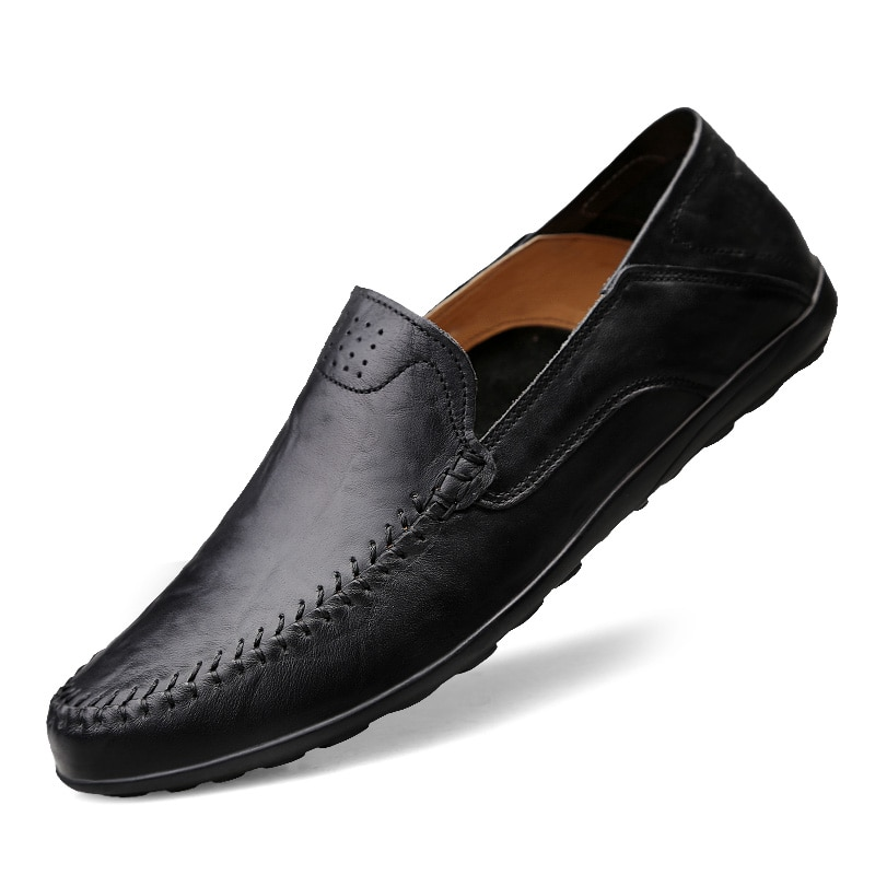 2020 Mens Genuine Leather Men Casual Shoes Luxury Brand Loafers Moccasins Breathable Slip On Black D