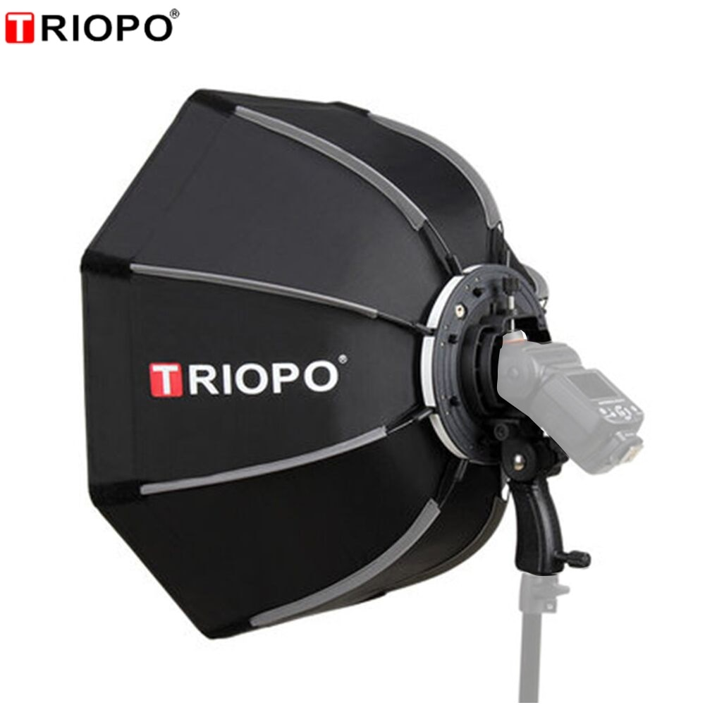 TRIOPO 55cm 65cm 90cm 120cm Foldable Octagon Softbox Bracket Mount Soft box Handle for Godox Speedlite Flash Light
