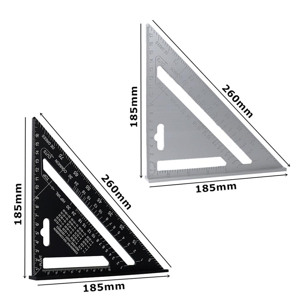 Triángulo de aleación de aluminio métrica de 7 pulgadas transportador con regla y ángulo herramienta de medición de carpintería lectura rápida medidor de diseño cuadrado