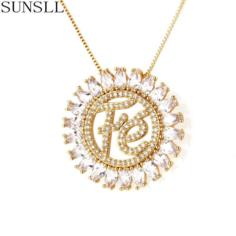 SUNSLL  Fashion 3color Copper necklace white / pink Cubic Zirconia Pendant Necklaces Women's Fashion Jewelry CZ Colar Feminina