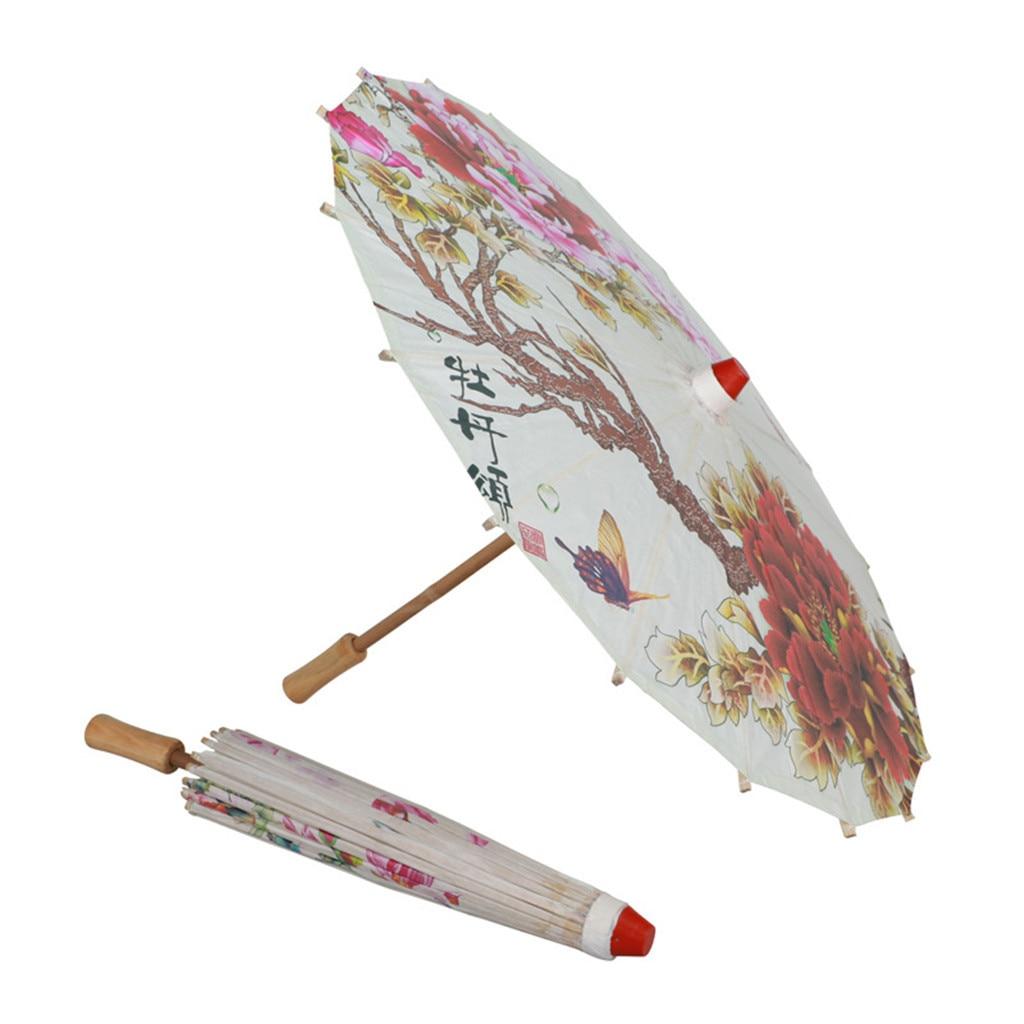 Sombrilla de lluvia para mujer, tela de seda china, danza clásica japonesa, Poney decorativa, sombrilla de bambú, sombrilla de papel de aceite