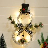 2020 christmas pendants rattan rings with lights garlands tree family decoration props