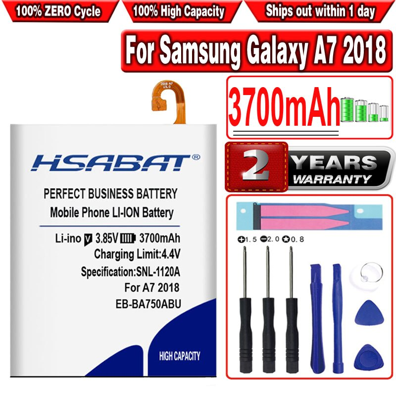 HSABAT 3700mAh EB-BA750ABU Battery for Samsung Galaxy A7 2018 version A730x A750 SM-A730x A10 SM-105F/DC