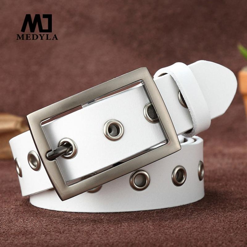 MEDYLA estilo Punk remache hueco señoras cinturón de cuero real tendencia simple salvaje cinturón delgado más largo cinturón de moda