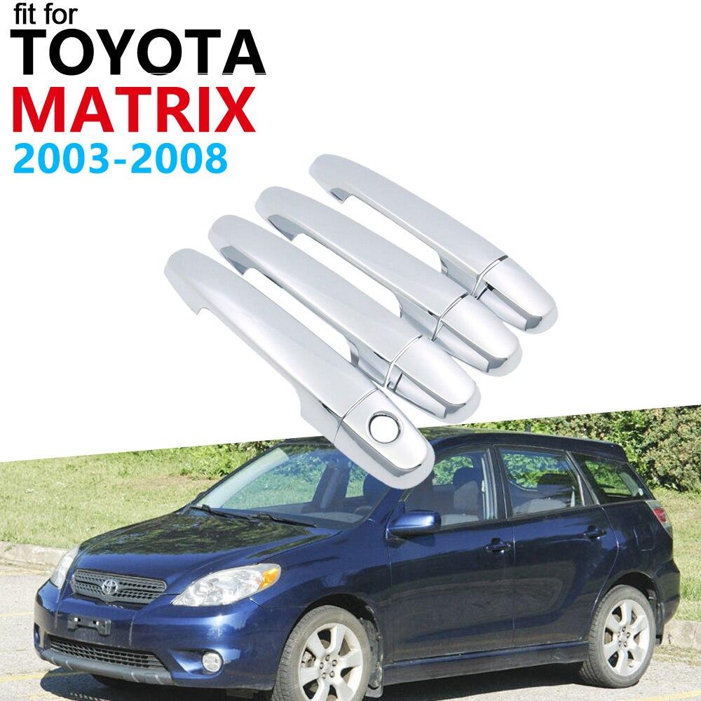 Maçaneta da porta acessórios do carro para toyota matrix e130 xr xrs 2003 ~ 2008 chrome exterior lidar com capa guarnição conjunto adesivos carro 2007