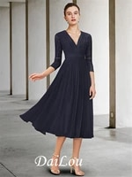 a line mother of the bride dress elegant v neck tea length chiffon lace half sleeve with pleats 2021