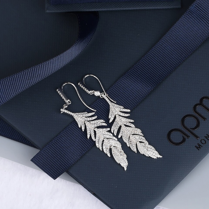 Feather Earrings S925 Sterling Silver micro inlaid zircon fashion women's exquisite Party style exquisite jewelry