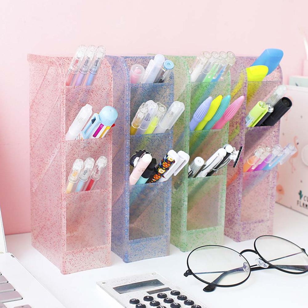 Large Capacity Multi-function 4 Grids Desktop Pen Holder Office School Stationery Storage Case Box Pencil Makeup Organizer Stand недорого