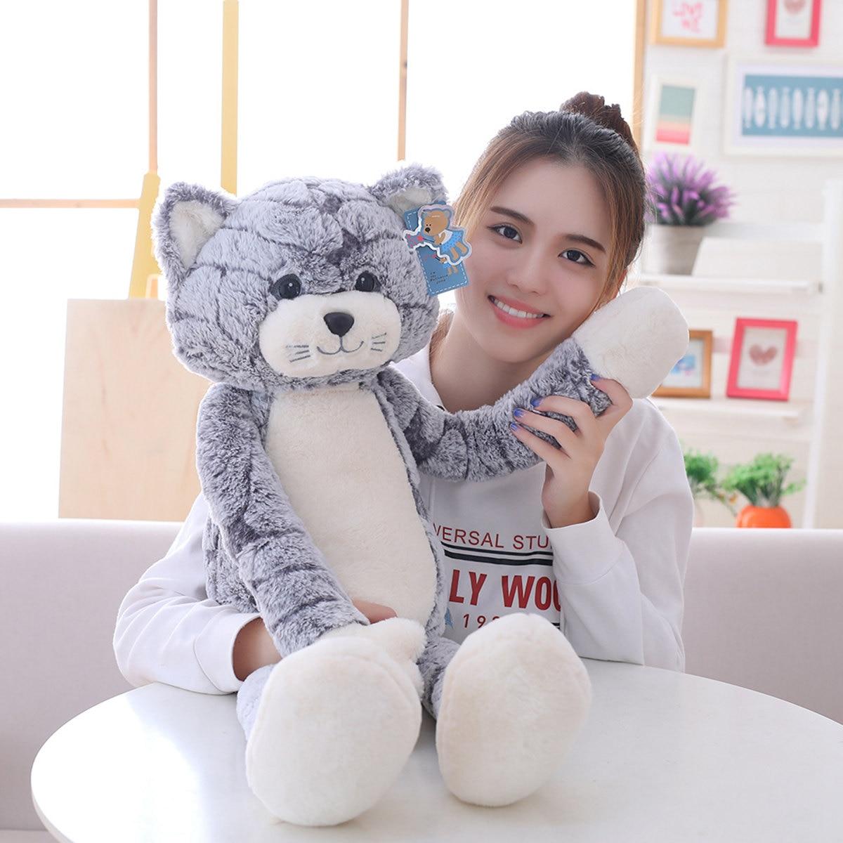 ¡Oferta! Juguete de peluche suave gato negro gris juguetes de peluche encantador Anime cumpleaños navidad regalo para niños gato muñeca bebé muñeca