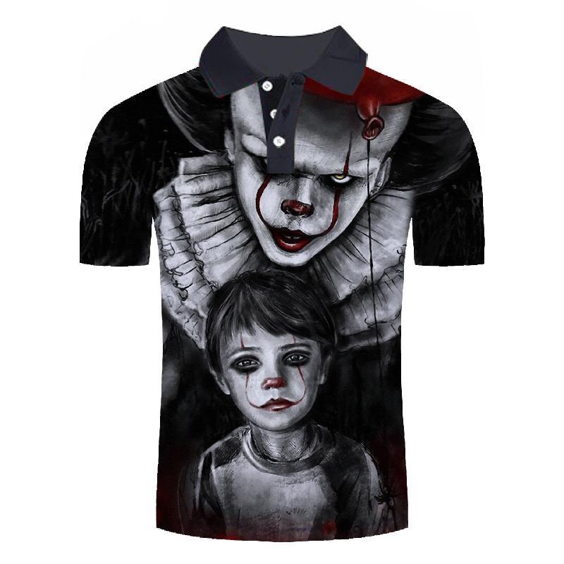 Punk style mens polo shirt cartoon clown series 3D printing mens funny shirt comfortable polo shirt summer short sleeve