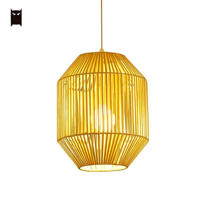 Lámpara colgante de mimbre Natural, lámpara colgante de mimbre, rústica, nórdica, escandinava, lámpara de techo, granja, comedor