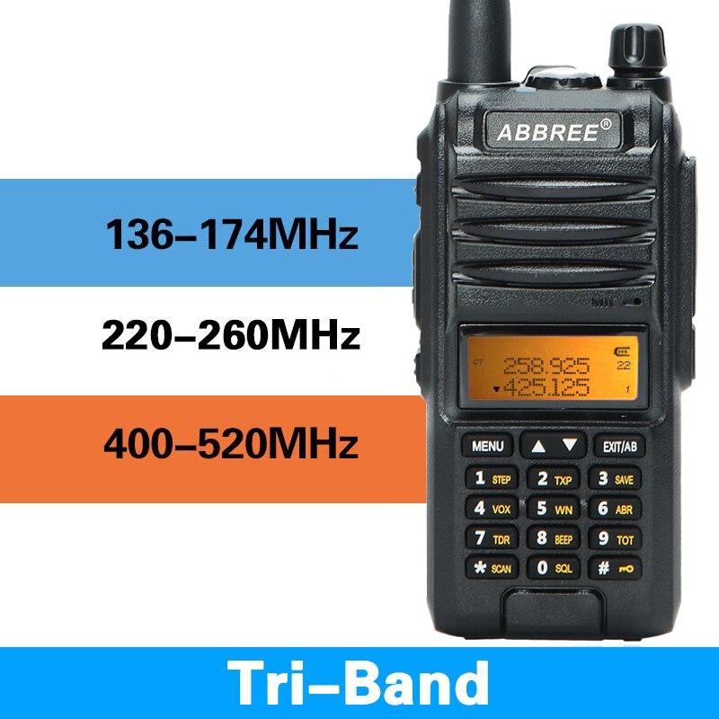 2020 Abbree AR-F3 Tri-banda 8w Walkie Talkie uhf, vhf 220-260MHz jamón de largo alcance de dos manera cb radio senderismo uv-5r