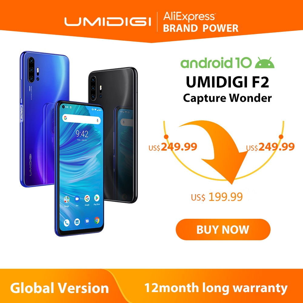 Umidigi-teléfono inteligente F2, teléfono móvil versión Global Android 10 so, pantalla FHD 6,53 pulgadas, 6GB RAM, ROM 128GB, cámara Quad ia 48.0mp, cámara Selfie 32.0mp, procesador Helio P70, batería 5150mAh, soporta NFC