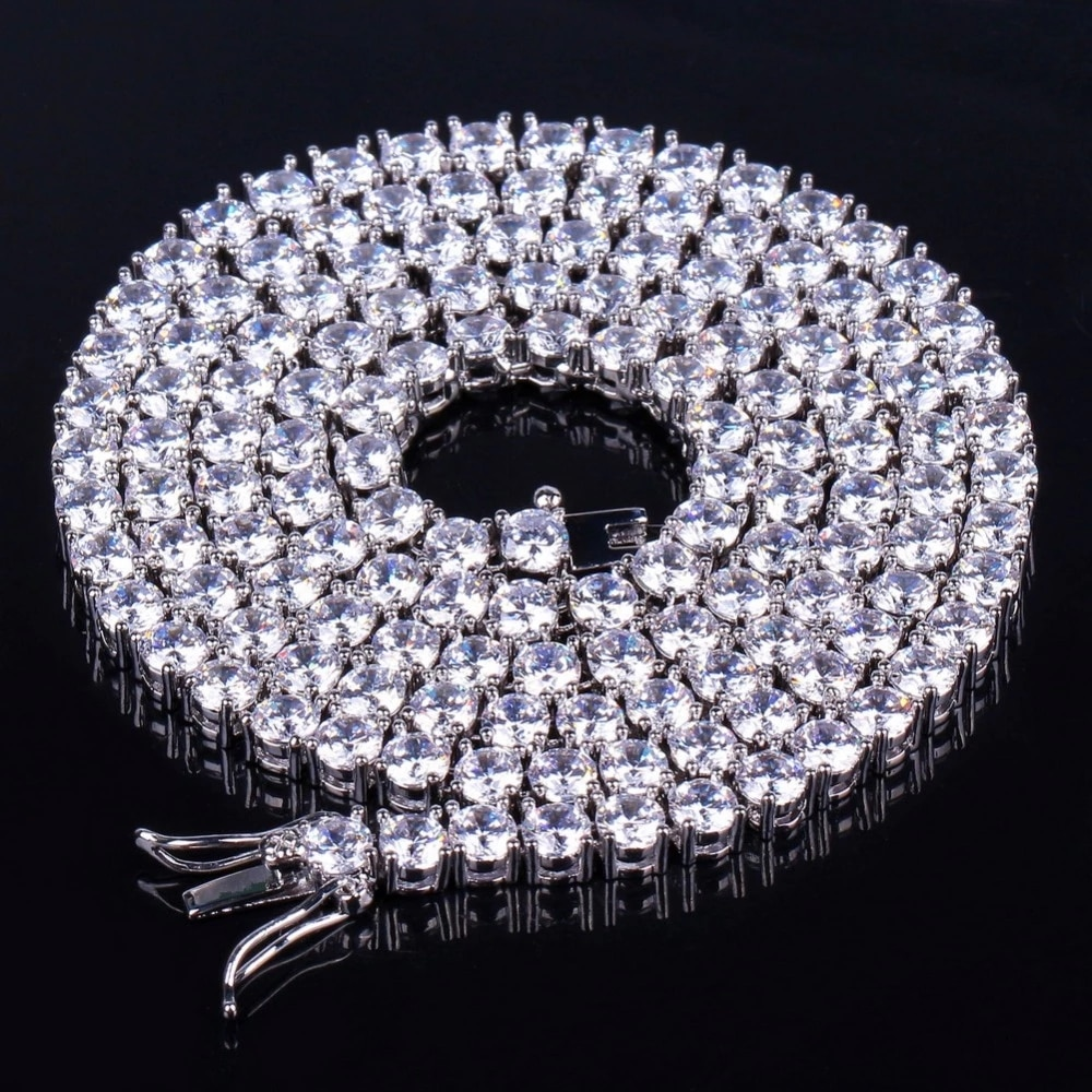 TOPGRILLZ 2.5mm-10mm  Iced Out Bling AAA Zircon 1 Row Tennis Chain Necklace Men Hip hop Jewelry Gold Silver Color Charms