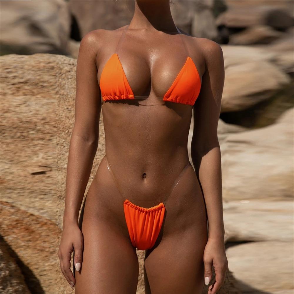 6 Colors Summer Women Transparent Straps Halter Neck Micro G-String Bikini Set Thong Sexy Push Up Swimwear Bra Bathing Swimsuit