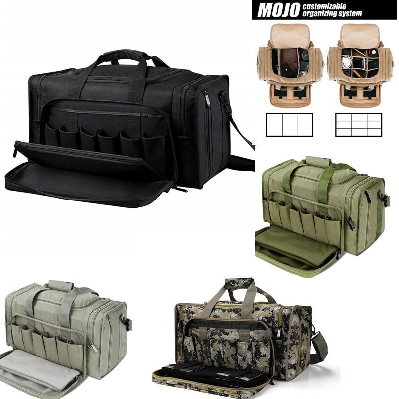 SoarOwl Tactical Gun Range Bag Shooting Duffle Bags for Handguns Pistols with Lockable Zipper and Heavy Duty Antiskid Feet