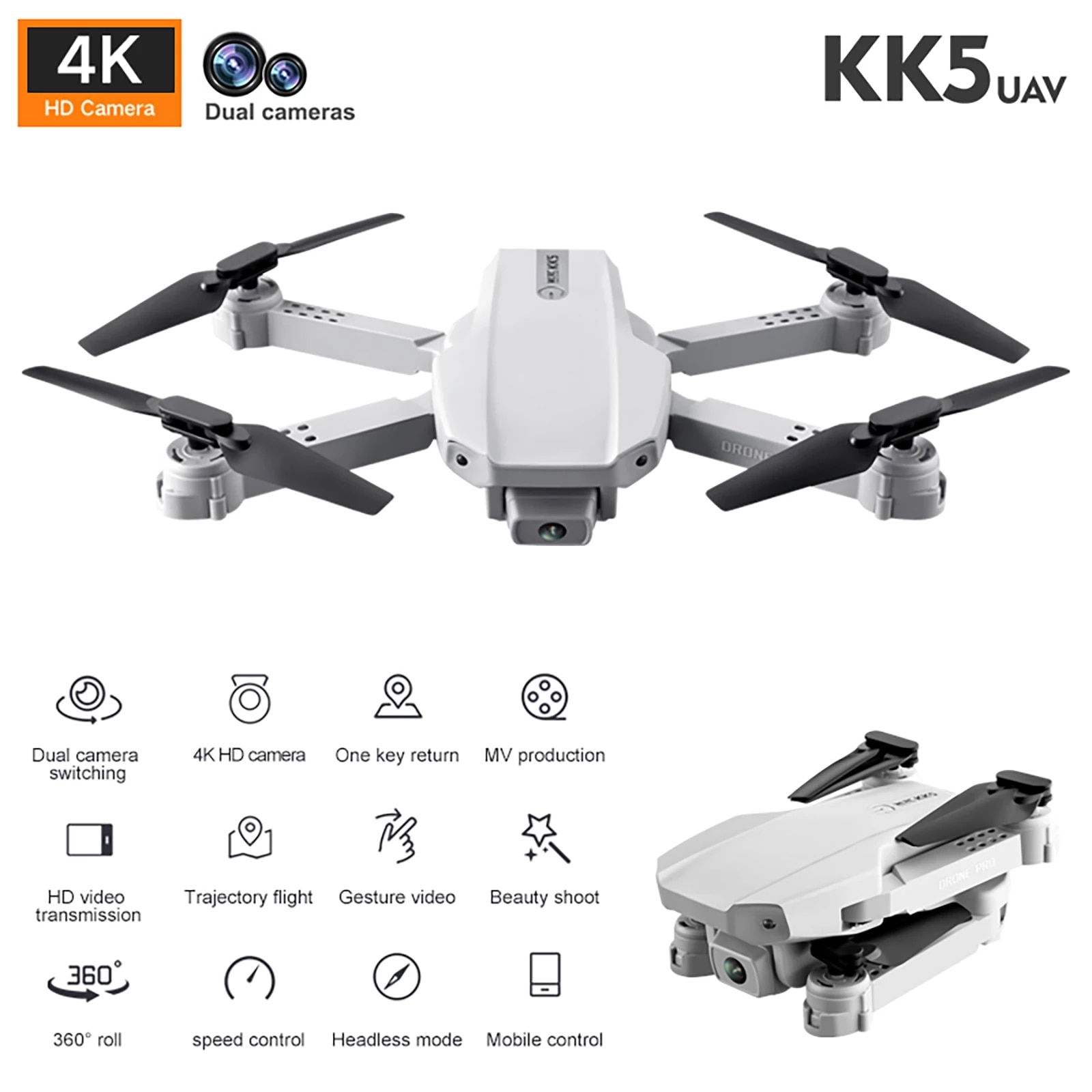 f6 drone 4k 1080p hd wifi quadcopter servo camera remote control adjustable angle drone camera dron reserve height rc helicopter KK5 Rc Mini Drone 4k HD Drone Wide Angle Camera 1080P WiFi fpv Drone Foldable Quadcopter Headless Mode Follow Me Helicopter Toys