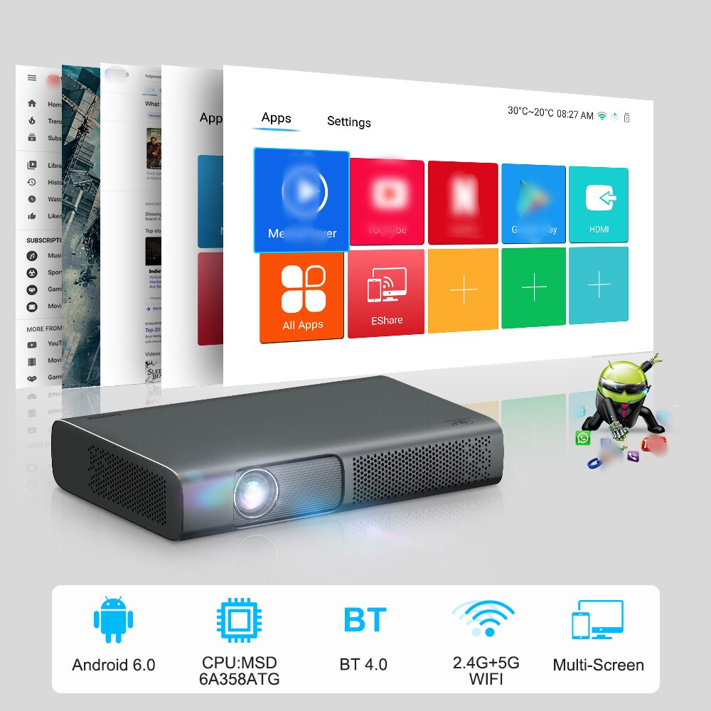ThundeaL New Tech DLP Projector 2000 Ansi Smart DLP Projector T615 for 1080p 4K Video Mini Beamer WiFi Android 3D Home Cinema