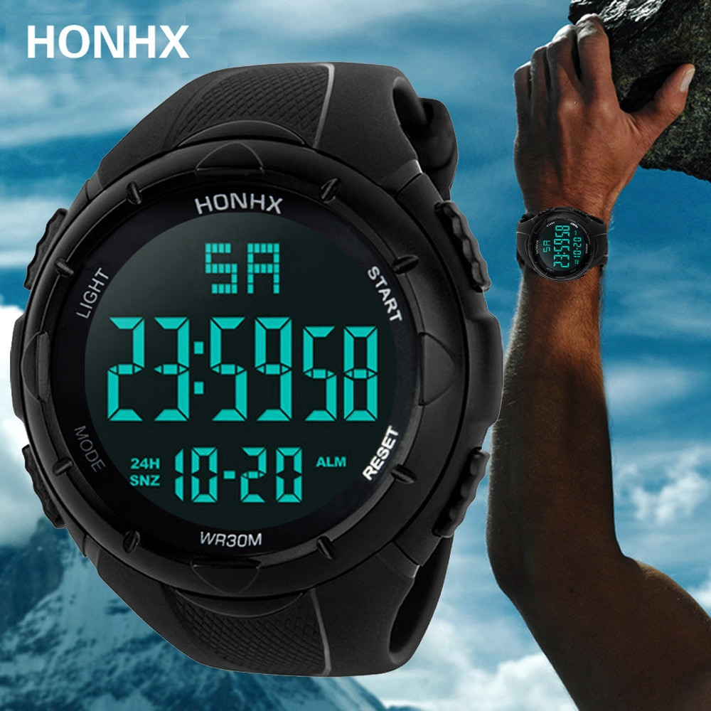 Reloj Digital Deporte Hombre reloj HONHX semana luminosa gran Dial cronómetro 3Bar resistente al agua TPU banda ABS caso reloj Masculino 30 *
