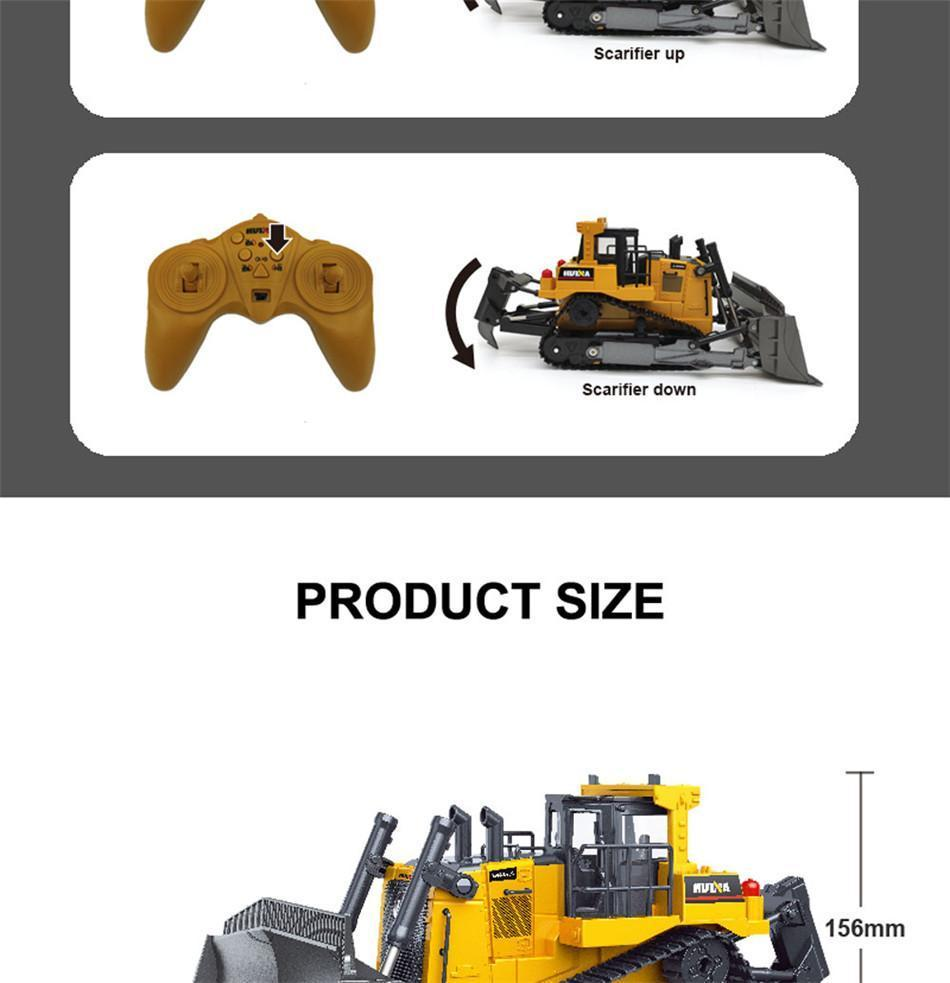 Huina 1569 1:16 8ch Rc Bulldozer Remote Control Truck Hobby Engineering Vehicle Machine On Control RC Car Toys For Children Boys enlarge