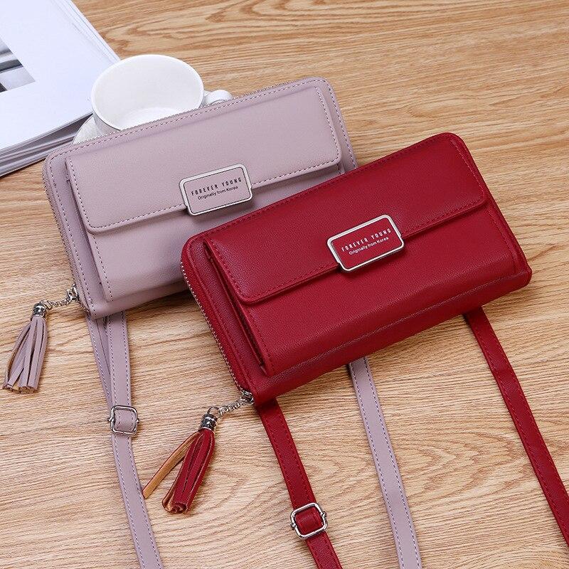 2020 nuevo bolso de las mujeres de la correa de hombro capacidad cartera larga borla de moda cerrojo del bolso de la moneda de la tarjeta titular del teléfono damas bolsa pequeña