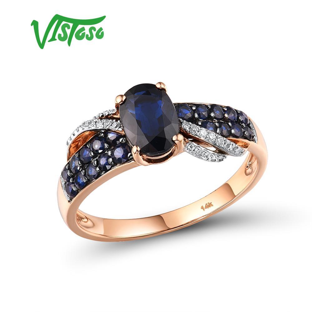VISTOSO النقي 14K 585 روز الذهب خاتم للنساء حلقة مشرقة الماس الأزرق الياقوت الفاخرة الزفاف الخطوبة أنيقة غرامة مجوهرات