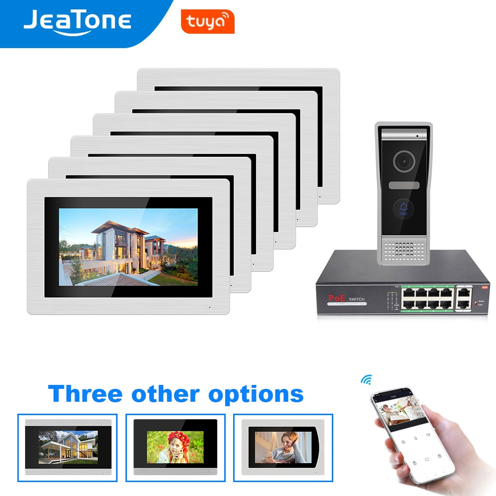 7'' WIFI IP Video Door Phone Intercom Door Bell Villa Access Control System Touch Screen Motion Detection 1 to 6 with POE Switch
