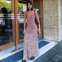Sexy Women Floral Print Loose Long Dress Low Cut Halter Casual Streetwear Clothing Fashion Elegant S