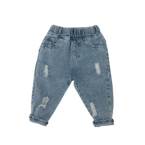 WLG Boys Fashion Jeans Kids Spring Autumn Ripped Denim Blue Jean Baby Boy Holes All Match Trousers for 1-5 Years
