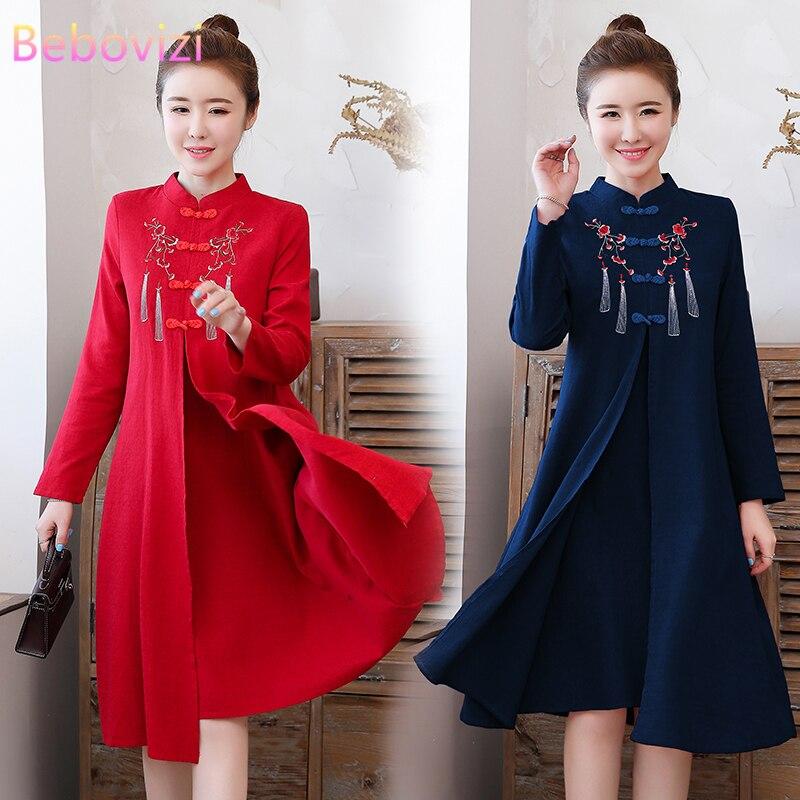حجم كبير M-4XL 2021 ريترو جديد الأحمر الأزرق الداكن التطريز تشيباو للنساء الصينية شيونغسام فستان حفلة ملابس كاجوال السنة الجديدة