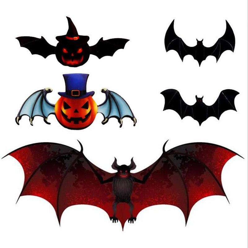 12 Uds adhesivos removibles para Pared decoración Mural 3d murciélago pegatinas Halloween...