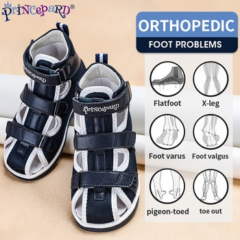 Princepard 2021 Children Orthopedic Shoes for Flat Feet Summer Kids Shoes Closed Toe Boys Girls Sandals with Ankle Support
