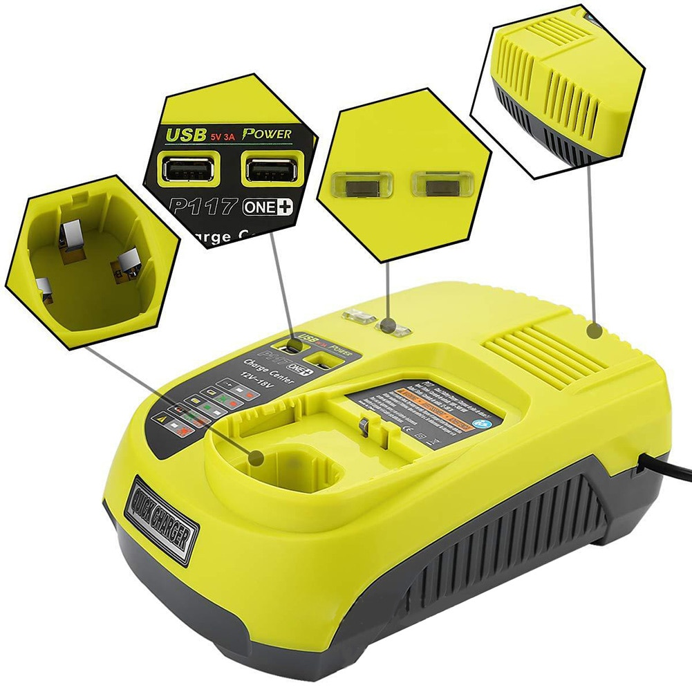 12V-18V Universal rechargeable Battery Charger for Ryobi P100 P102 P108 P117 P118 with USB ports quick charge  UK/EU/US/ Plug enlarge