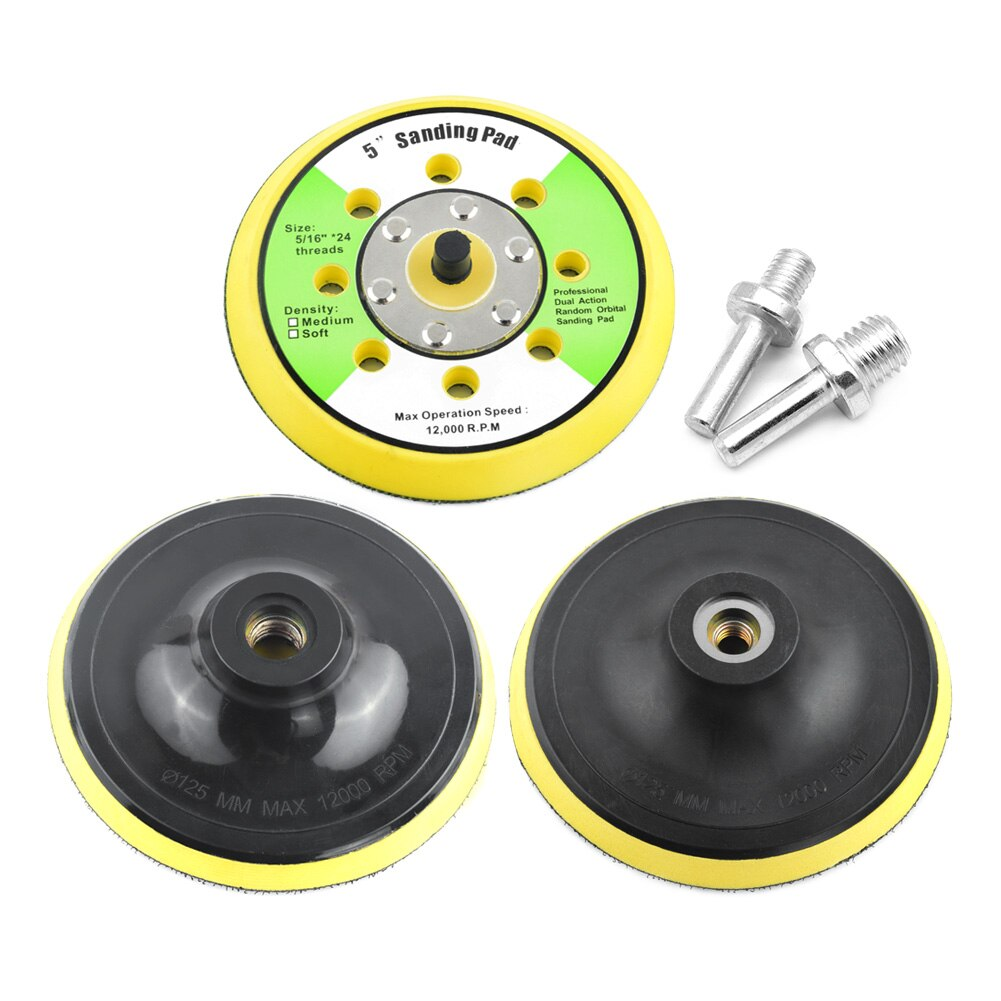 Disque de ponçage 5 pouces meuleuse électrique outils de polissage papier de verre, plaque de polissage de sauvegarde pour filetage M10 et M14
