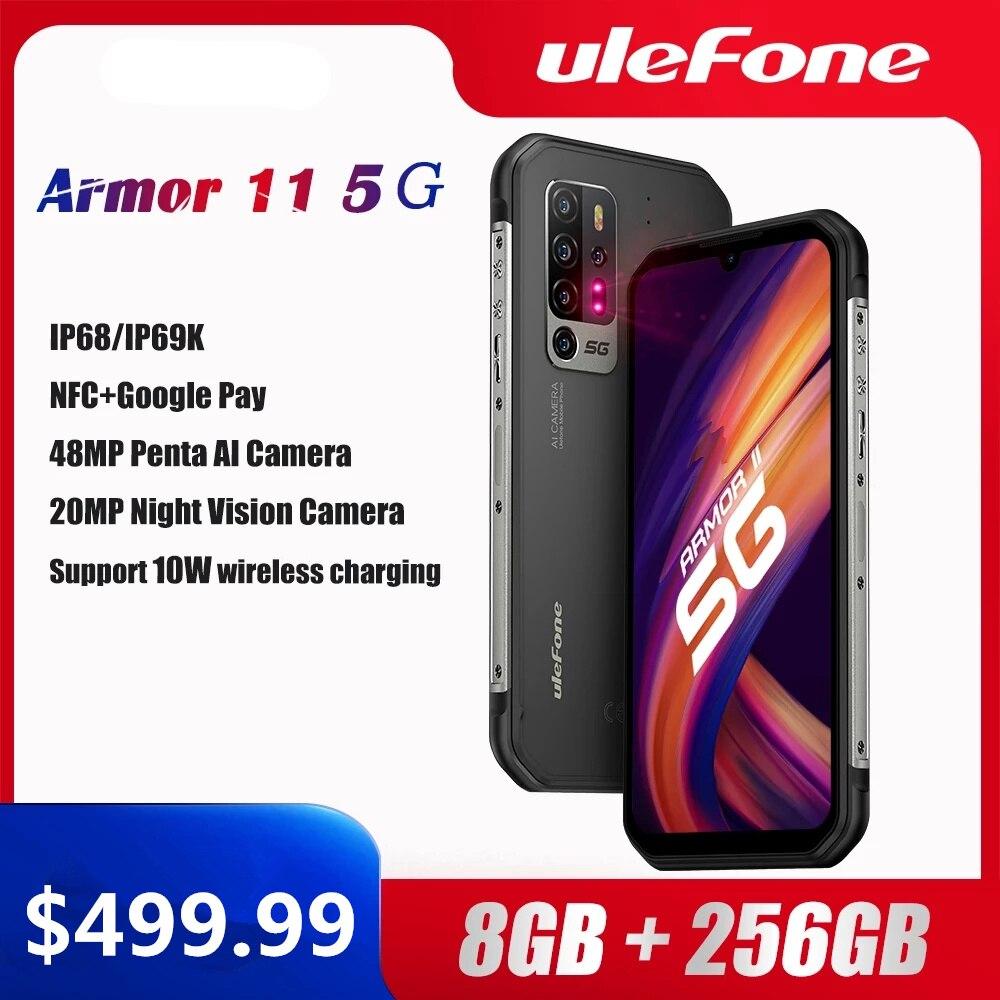 Чехол-накладка Ulefone Armor 11 5G прочный мобильный телефон Android 10 8 ГБ + 256 ГБ IP68 Водонепроницаемый смартфон 48MP NFC мобильный телефон Беспроводной зар...