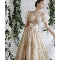 women prom dresses chiffon lantern sleeve a line robe v neck 2021 elegant women night party dresses