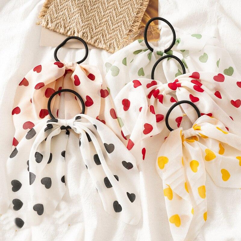 Accesorios para el cabello para mujer, bandas de goma, Tiara, cinta de raso de pelo, lazo en forma de corazón, de pelo Banda cuerda elástica, soporte para coleta para chica